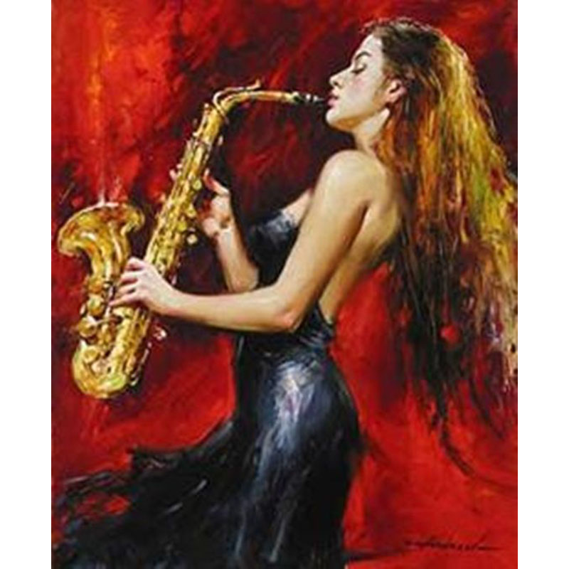 Hand Painted Sexy Lady Saxophone Woman Player Oil Painting On Canvas For Music Room