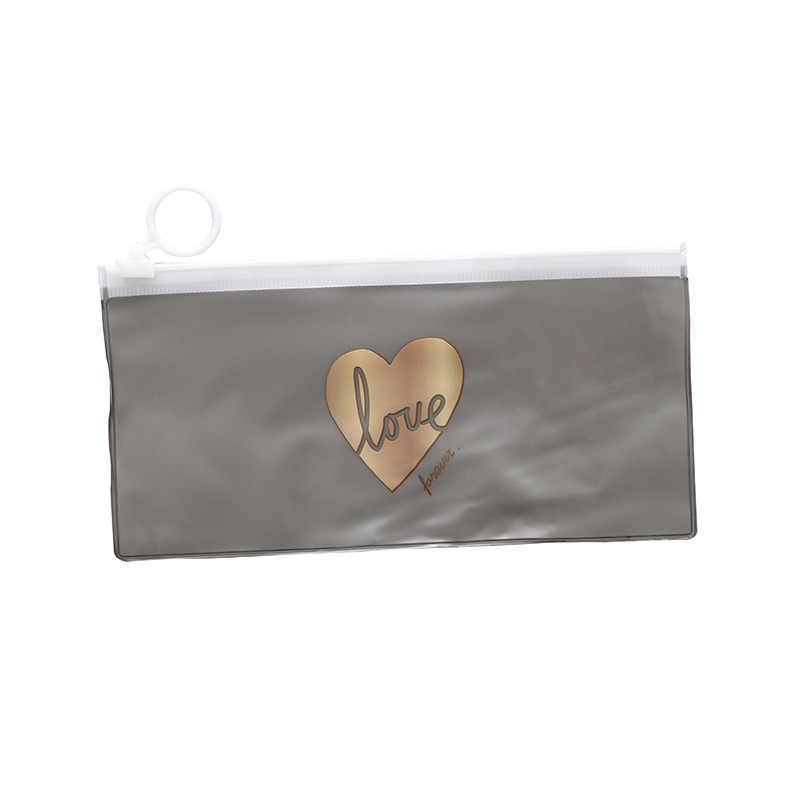 Estuches de lápiz de corazón transparente Kawaii caja de lápiz de PVC lindo bolsa de lápiz para niñas niños papelería coreana suministros escolares de oficina
