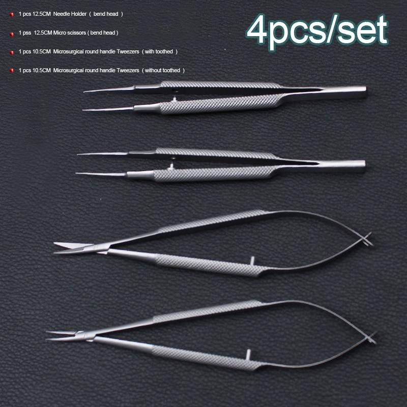 4 pz/set oftalmica strumenti microsurgical 12.5 cm forbici + Ago titolari + pinzette in acciaio inox strumento chirurgico