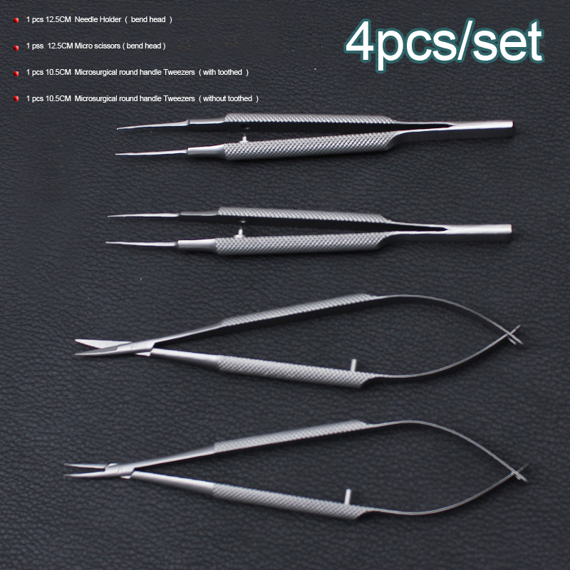 4pcs/set ophthalmic microsurgical instruments 12.5cm scissors+Needle holders +tweezers stainless steel surgical tool 3 pcs bonsai tool set jttk 19 long handle scissors round edge cutter tweezers master grade bonsai tools excellent quailty