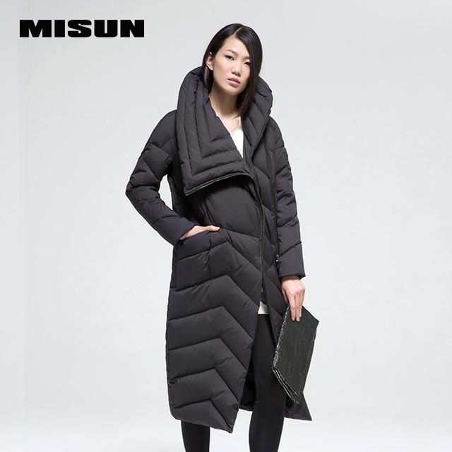 2016 misun fêmea de ultra longo das mulheres para baixo casaco espessamento frente voar moda jackt
