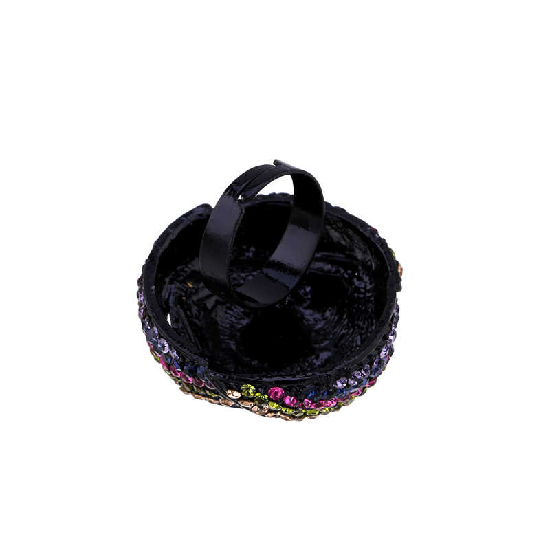 Новое поступление, массивное кольцо стразы в форме цветка розы, регулируемое модное кольцо для женщин, вечерние ринка