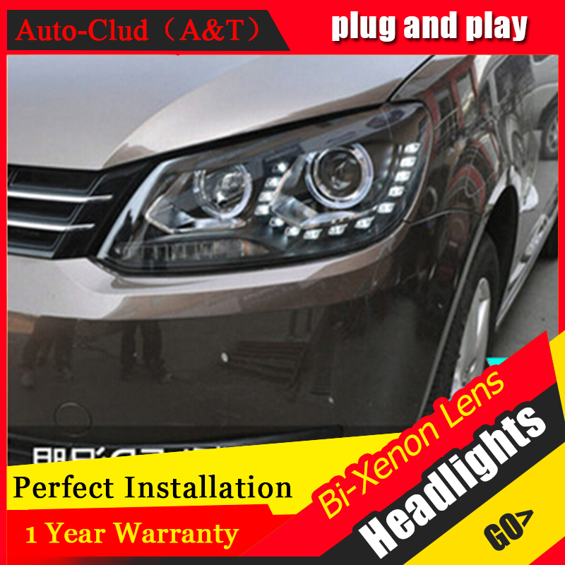 Auto Clud 2010-2015 vw touran headlights LED light DRL car styling bi xenon lens HID Kit parking H7 xenon vw touran head lamp auto lighting style led head lamp for mazda 3 axe headlights for axela led angle eyes drl h7 hid bi xenon lens low beam