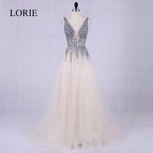 LORIE Prom Dresses 2017 Vestidos De Graduacion Deep V Neck Sexy Women Formal Dress Beading Top Cheap Backless Long Evening Gown