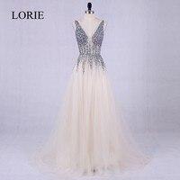 LORIE Prom Dresses 2017 Vestidos De Graduacion Deep V Neck Sexy Women Formal Dress Beading Top