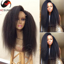 Factory Supply 100 Human Hair Lace Front Wigs Left Part Natural Black Kinky Straight Brazilian Hair Glueless Full Lace Wigs