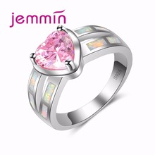 Jemmin Elegance Heart Silver Ring New Hollow Design White Fire Opal Ring for Women 925 Sterling Silver Jewelry WeddingDecoration