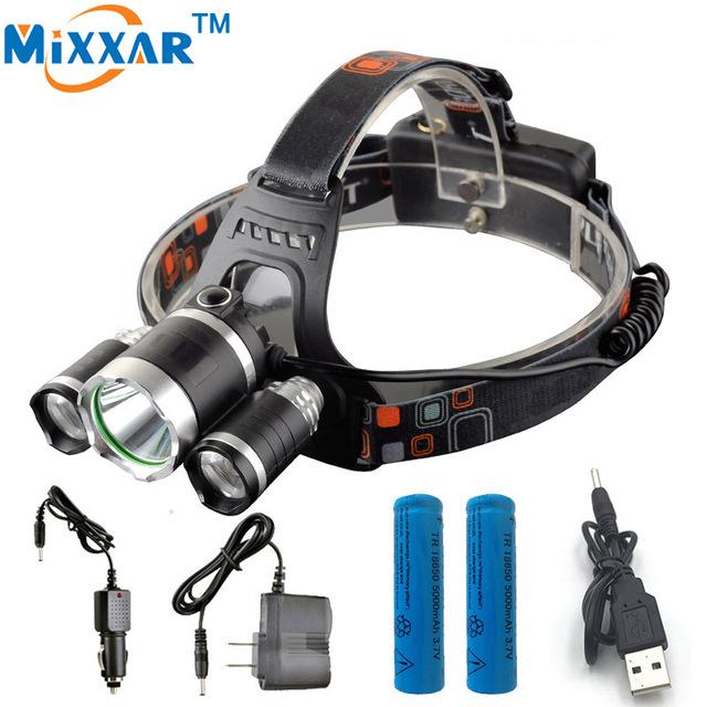 ZK35 3 9000LM Cree XM-L Cabeça T6 LEVOU Farol Lâmpada de Pesca Luz LED Farol + 2 pcs 18650 5000 mah Carregador de bateria + carregador de carro