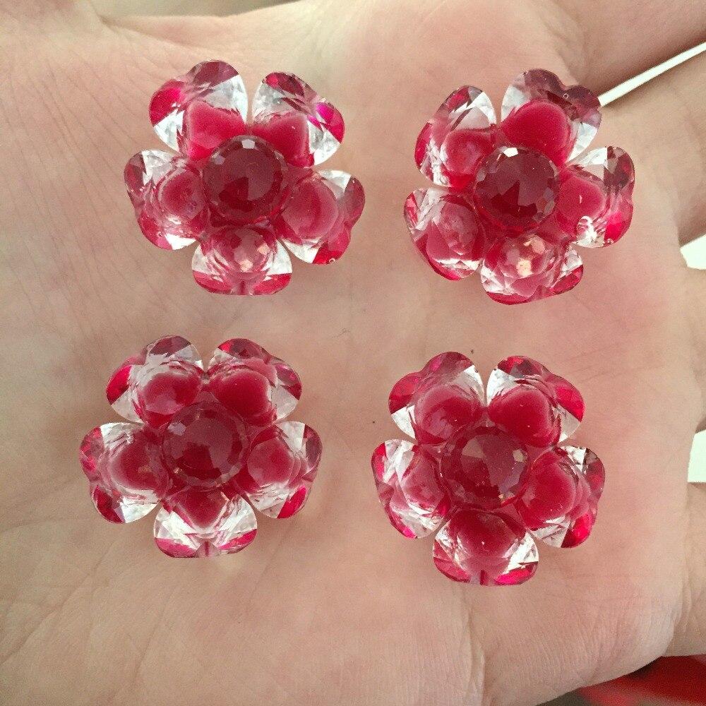 ộ_ộ ༽Caliente 10 unids 21mm 3D cristal doble color de la flor ...