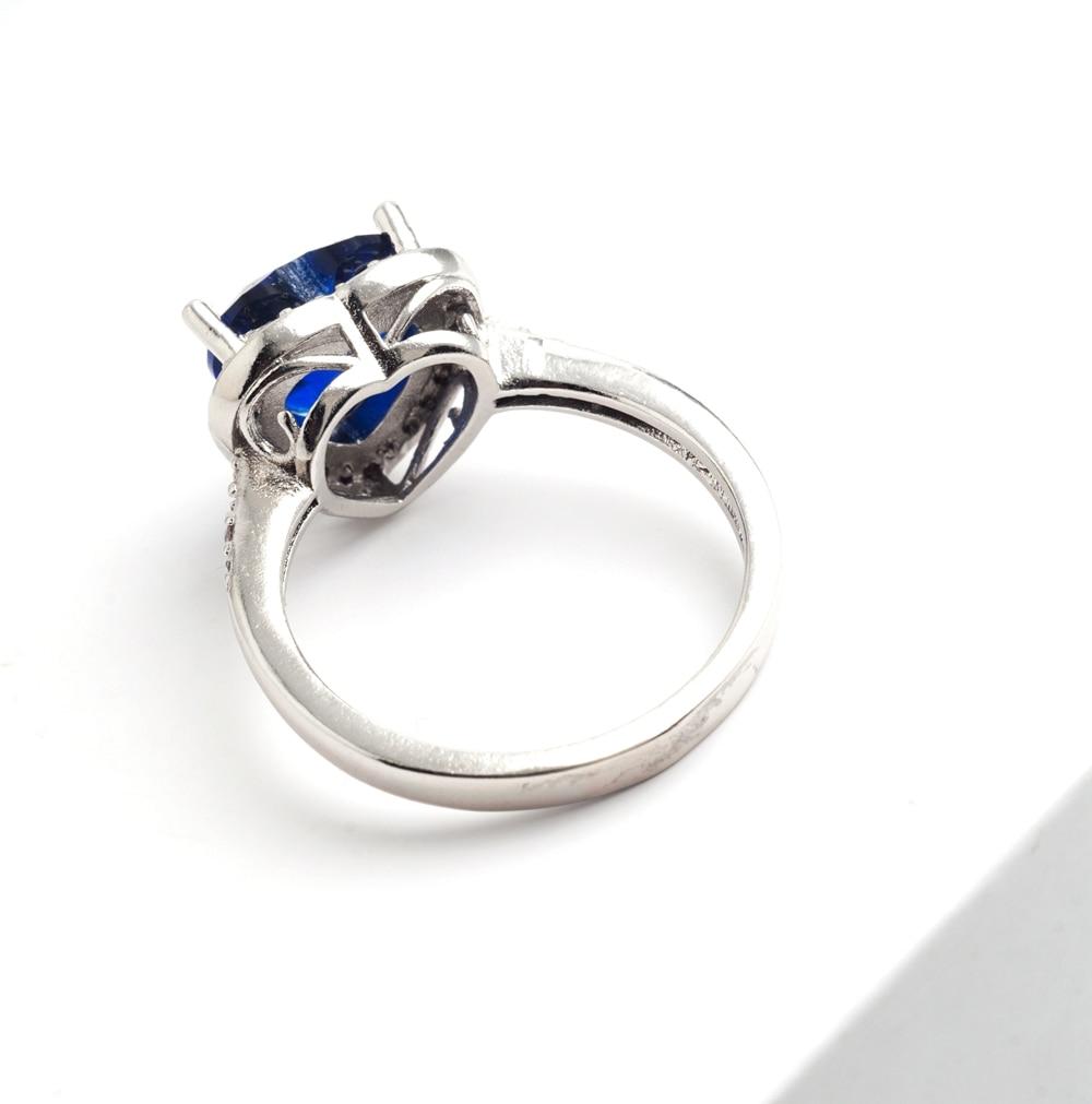 Yunkingdom love heart design fashion romantic ring dark blue cz crystal Rings for Women costume jewelry X0030 3