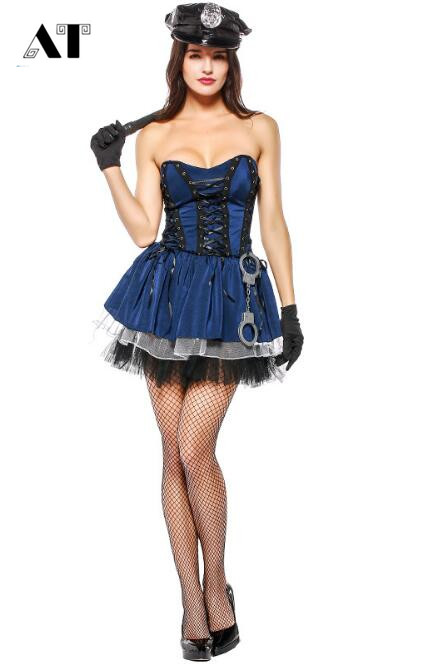 Sexy Women Police Officer Costume Uniform Halloween Adult -8893