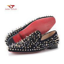 men loafers Top Quality  Red Bottom Men Shoes Fashion Dandelion Spikes Loafers Rivets Casual Dress Flats Black