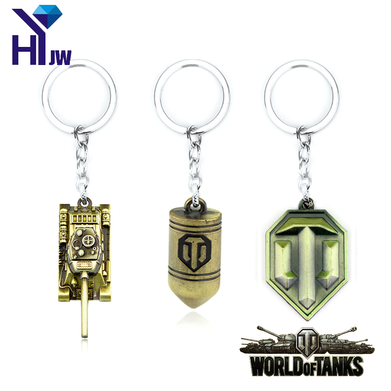 2Colors World of Tanks WOT New Metal Tank Key Ring Keychain Pendant Alloy Metal Collection Gift Hot Game Jewelry
