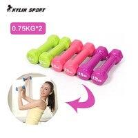 Frauen hantel professionelle 0,75 kg * 2 knochen home fitness sport ausrüstung gewichtsverlust kunststoff 1,5 kg dip mehrfarben in hantel