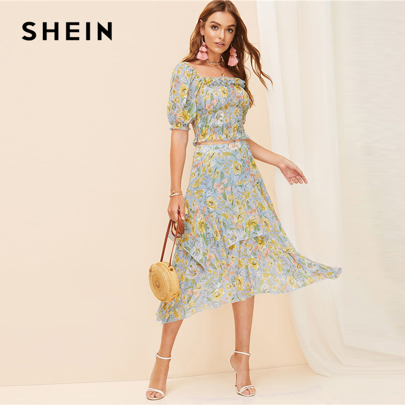 SHEIN Boho Allover Botanical Print Ruffle Trim Shirred Crop Top Blouse And Layered Asymmetrical Skirt Set Women Two Piece Set