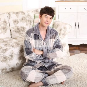 Image 5 - 2019 Winter Pajamas For Men Thick Flannel Sleepwear Suit 2 Pcs Pyjama Homme Warm Casual Home Clothing Pijama Hombre
