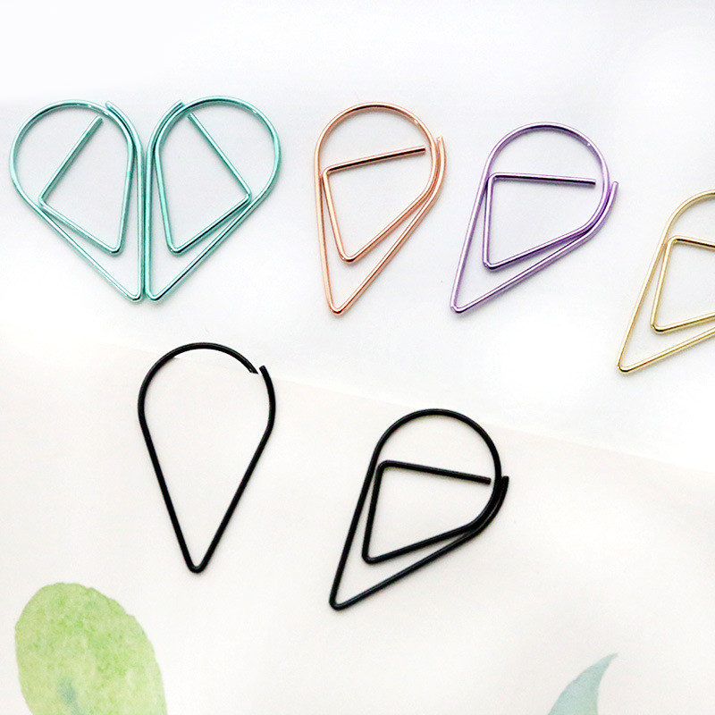 5PCS/lot Kawaii Cute Drop Clip Bookmark Planner Paper Clips Metal Bookmarks List Agenda Stationery School Office Supplies Sl1222