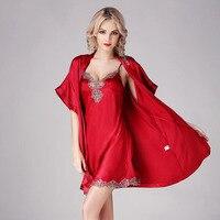 CEARPION New Brand Summer Bath Robe Set Sleepwear Bride&bridemaid Robe Casual Daily Kimono Bathrobe 2pcs Robe+nightie Nightwear
