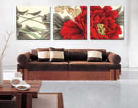 Paintings Canvas Flowers Red Flower Painting And Art Paintings For Living Room Wall 3 Piece Canvas