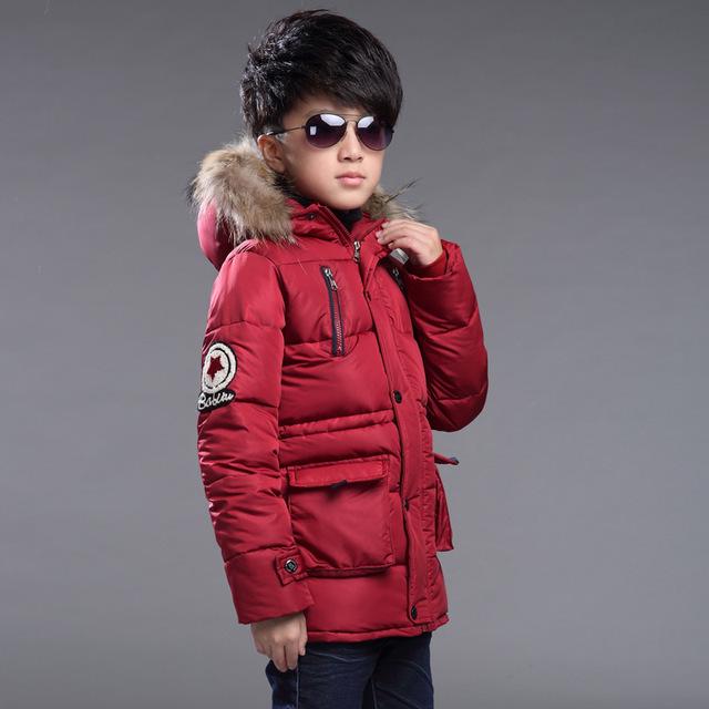 Niños chicos abrigo de invierno invierno niño prendas de vestir exteriores #30 negro/verde del ejército/vino rojo jongens winterjas chaqueta de invierno para el muchacho