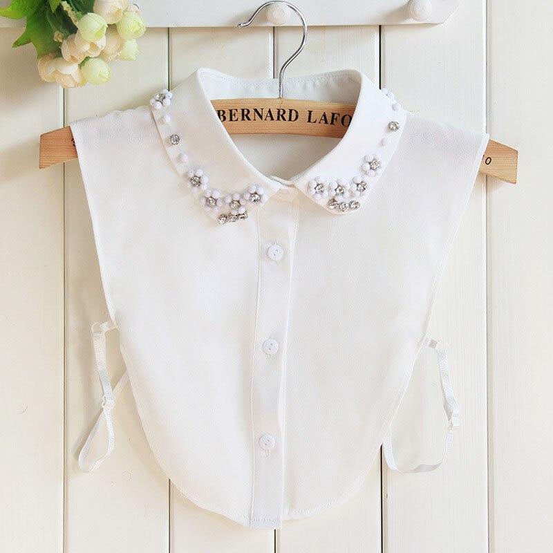Fake Collar Women Detachable Collars Jeans Diamond Crystal Lace Cotton Detachable For Shirt Sweater