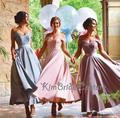 Vestido Dama De Honra Uma Linha Baratos Roxo Vestidos Dama de honra 2017 Elegante Elegante Da Luva do Tampão Do Laço Vestidos de Festa de Casamento