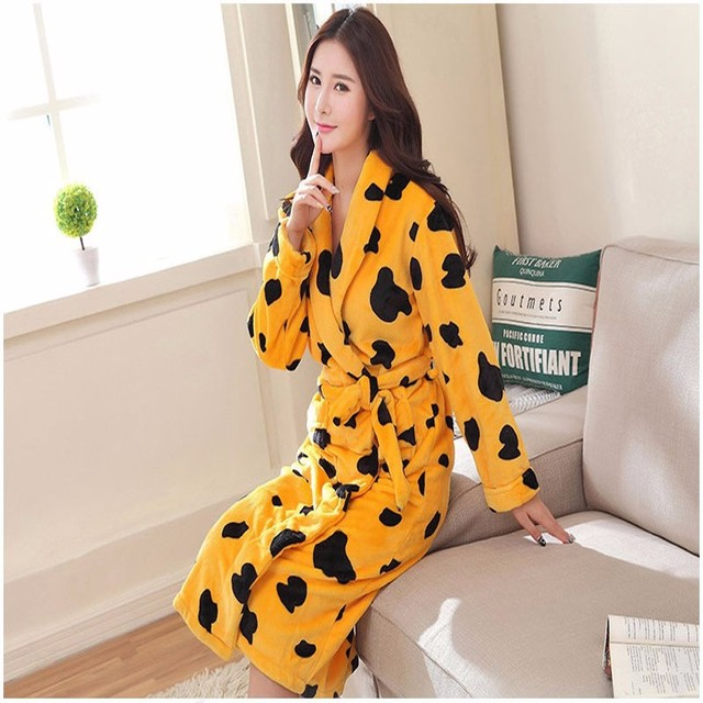 2017 New Flannel Dressing Gowns For Women Kimono Robes Printed Indoor Sleepwear Autumn Robes For Ladies
