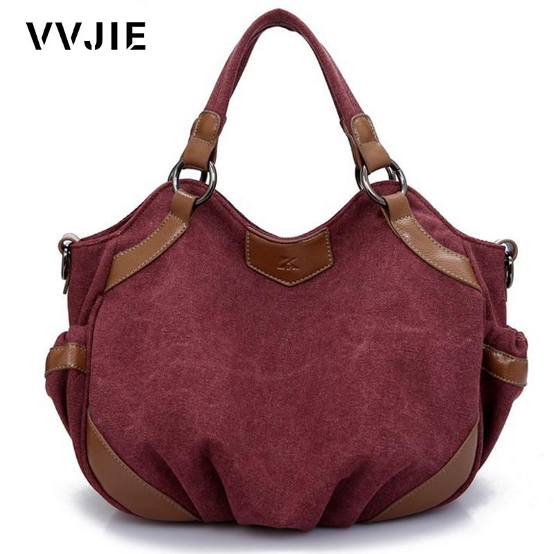 Canvas Bags Ladies Large Hobos Bag Solid Shoulder Messenger Bag Bosos Handbags
