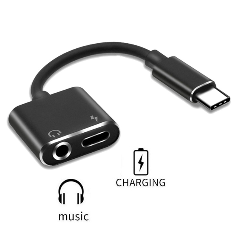 2 In 1 Usb Type C Adapter Charger Audio Cable Type-C To 3.5mm Jack Headphone Aux Converter For Samsung For Xiaomi For Huawei