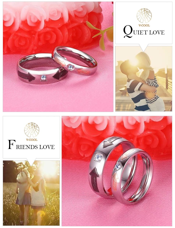 V COOL Titanium Steel CZ Heart Korean Couple Rings Set for Men Women ...