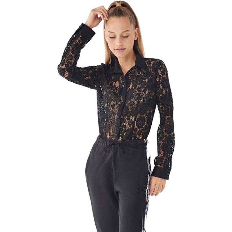 78493e9ccacde0 JYSS nieuwe vrouwen vrouwen lace blouses lange mouwen turn down hollow out  black lace blusas club