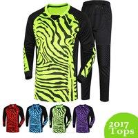 2015/16 Yeni Erkekler Futbol Kaleci Kitleri Sünger Koruyucu Suit Erkekler Futbol Gol Kaleci Forması Üniformalar Uzun Kollu Eğitim Seti