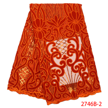 Hot Sale Velvet Lace Fabrics Nigerian Lace Fabric with Sequins Orange African Tulle Mesh Lace Sequins Lace Fabrics APW2746B-5