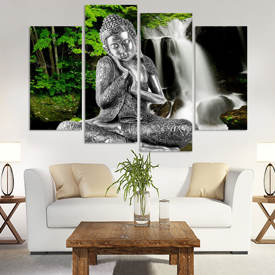 4 Panels Canvas Print Buddha And WaterFall Painting On