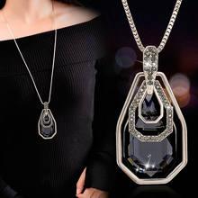 Женское ожерелье с подвеской в виде капли воды длинное геометрической