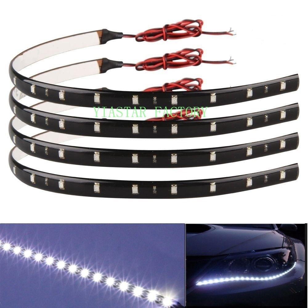 100X 30cm Strip Light Car Flexible LED 15SMD Waterproof LED Decorative Car DRL High Power Daytime Running Light Strip Light 12V