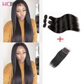 Grade 7A Indian Silky Straight Hair 3 Bundle Deals With 4x4 Lace Closure Human Hair Products Indian Straight Virgin Hair