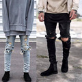 Hombres diseño rasgado jean destroyed jeans stretch pantalones kanye west GD hip hop moda entallada roto destruir demin pantalones vaqueros del lápiz 29-36