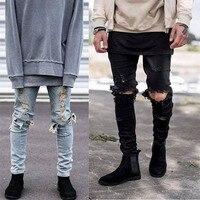 Men destroyed jeans stretch ripped design jean pants kanye west GD hip hop slim fit men broken demin destroy pencil jeans 29-36