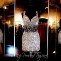 Real Sample Luxuries Brand Tulle Crystal Short Dresses Sexy Sheer Backless Cocktail Party Dress Fashion Mini Prom Gowns DSC015