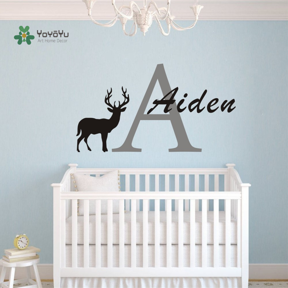Deer Silhouette Wall Decal Custom Personalized Baby Name Vinyl Wall ...
