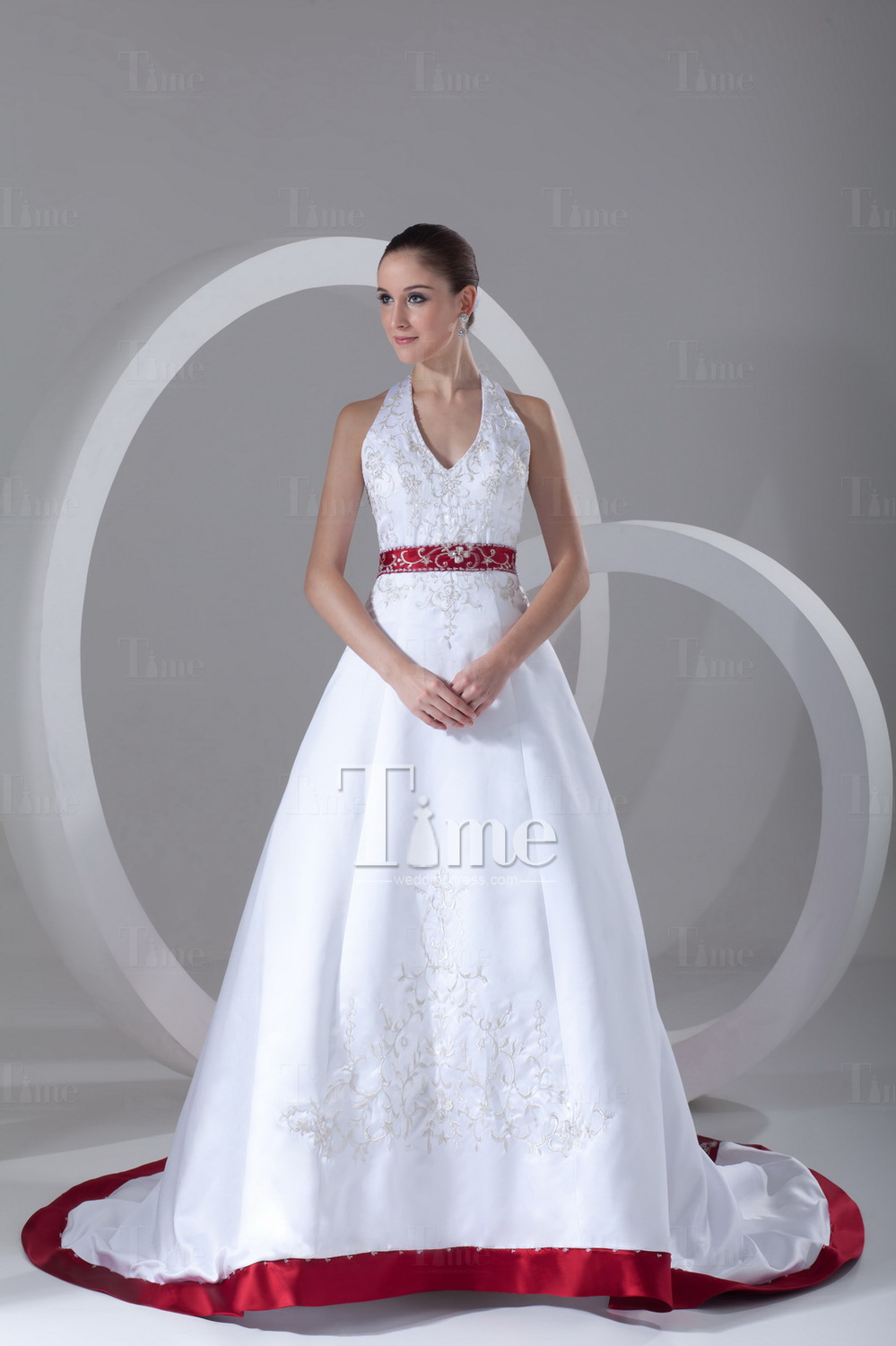 Ball Gown Halter Two Tone Red Embroidery And White Satin Long Train