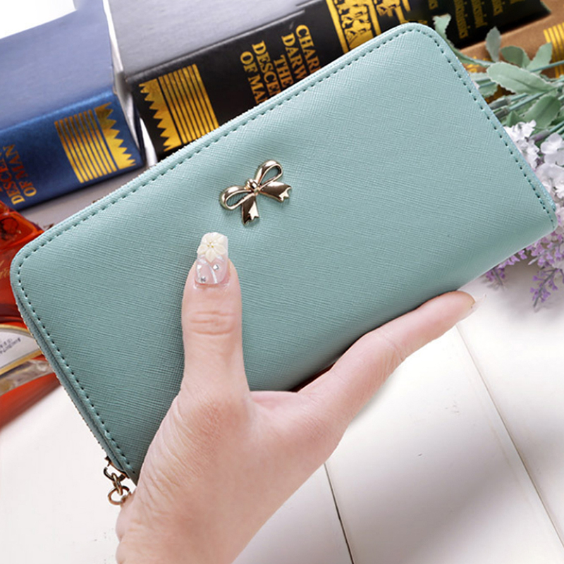 8 Colors Ladies Cute Bowknot Women Long Wallet Pure Color Clutch Bag 2018 New Leather Purse Phone Card Holder Bag Wallet