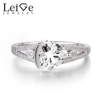 Leige Jewelry Natural White Topaz Solid 925 Sterling Silver Ring Gemstone November Birthstone Engagement Wedding Rings for Her