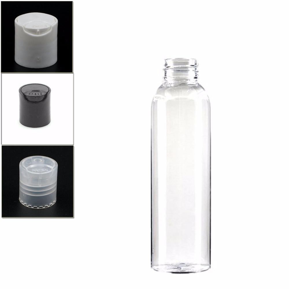4oz/120ml Empty Plastic Dispensing Cap Bottle , Clear Pet  Bottle With Transparent/white/black Disc Top  Lid
