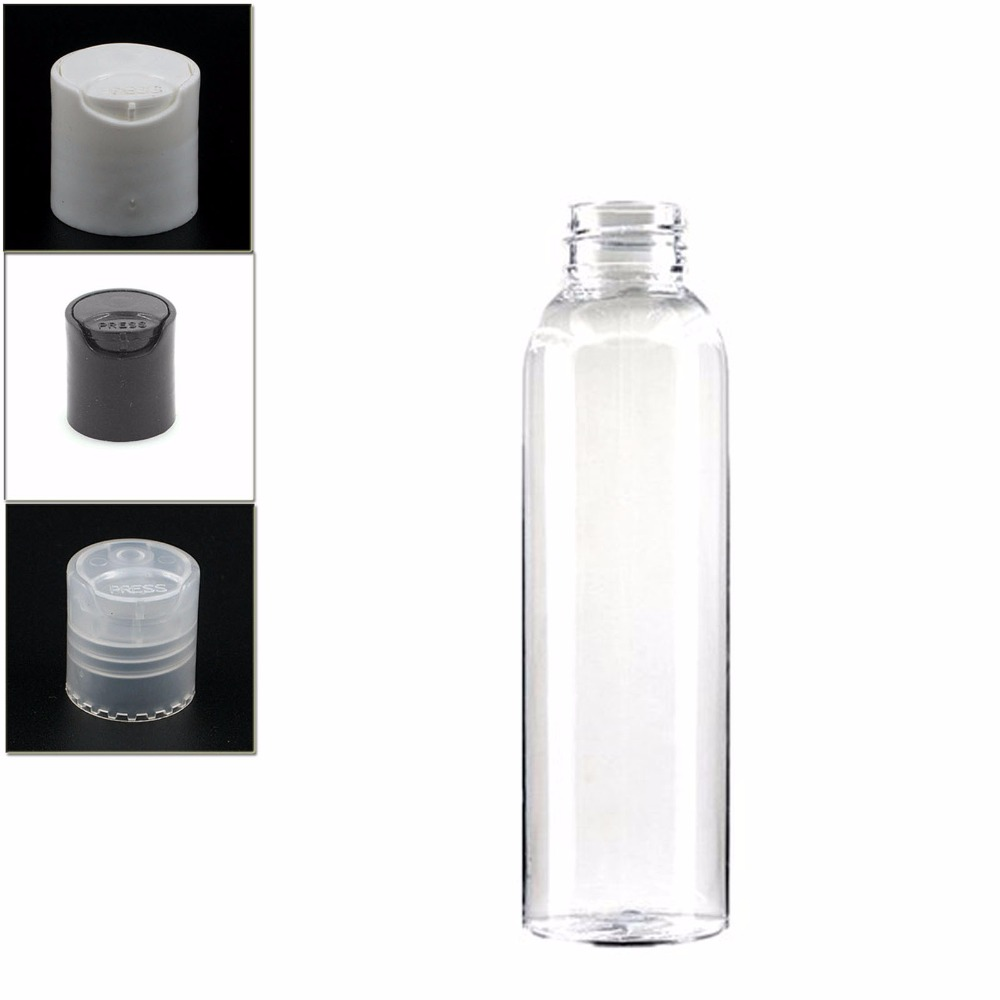 4oz/120ml Empty Cosmo Round Plastic Dispensing Cap Bottle , Clear Pet  Bottle With Transparent/white/black Disc Top  Lid