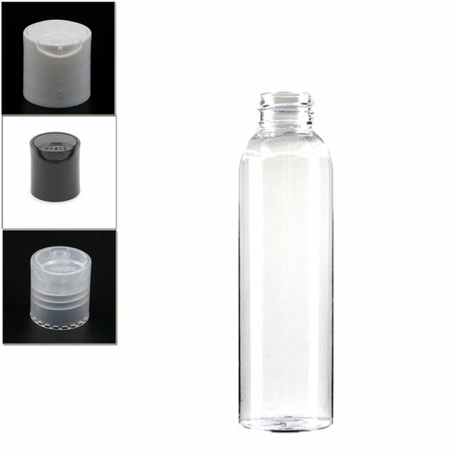 ce32d8eb7410 US $0.12 |4oz/120ml empty plastic Dispensing Cap bottle , clear pet bottle  with transparent/white/black disc top lid -in Refillable Bottles from ...
