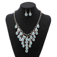2016 Fashion Maxi Statement Necklaces & Pendants Collar Collier Vintage Necklace blue Water Drop Gypsy Ethnic Bohemian Jewelry