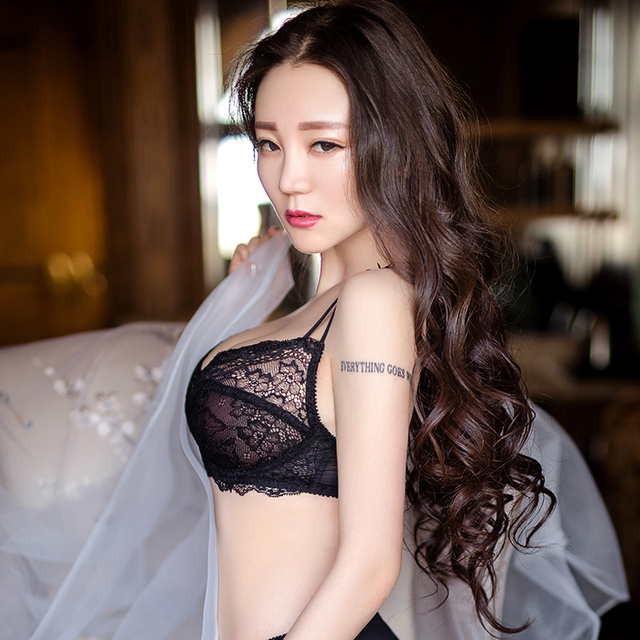 Sexy Lace Transparent Ultra-Thin Without Sponge Bra And Panty Sets Embroidery Unlined Breathable Lingerie Suit Brassiere Black 2