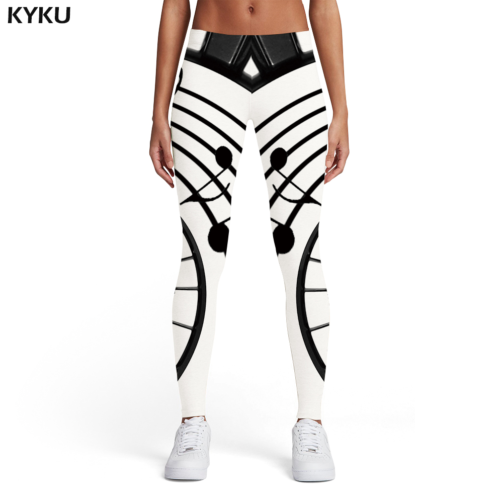 KYKU Music Leggings Women Musical Notes Elastic Black And White Spandex Gothic Leggins Ink Sport Womens Leggings Pants Jeggings